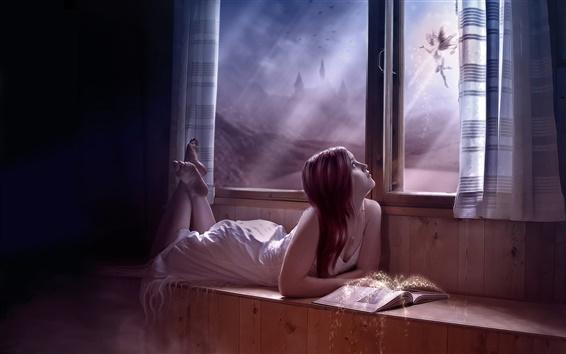 Papéis de Parede Fantasia garota olhou pela janela