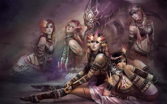 Wallpaper Five fantasy girls and monster