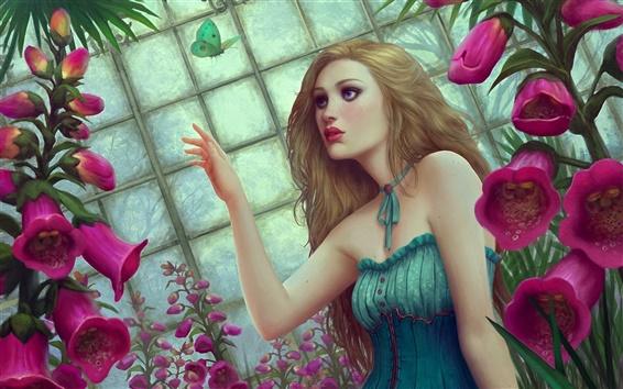 Wallpaper Flowers butterfly fantasy girl