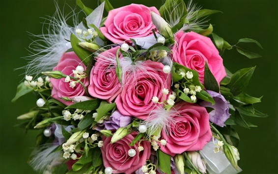 Wallpaper Flowers gift of pink roses