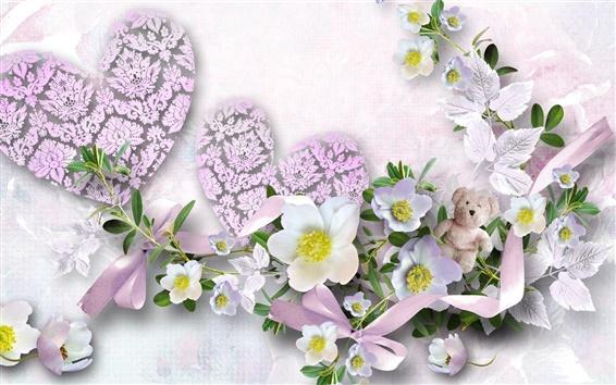 Papéis de Parede Heart-shaped flores e urso de peluche