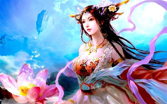 Wallpaper Lotus fantasy girl