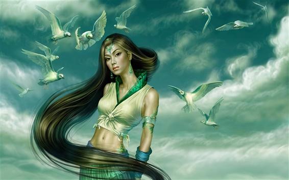 Wallpaper Pigeons accompanied in green fantasy girl
