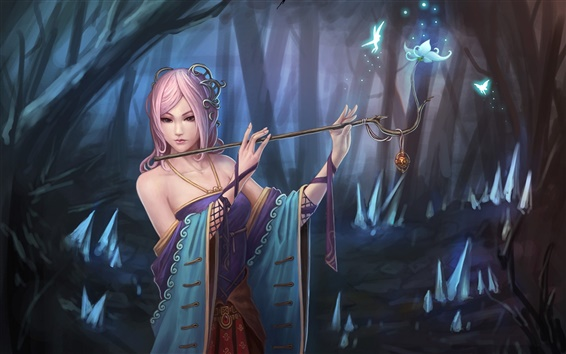 Wallpaper Pink hair fantasy girl in forest