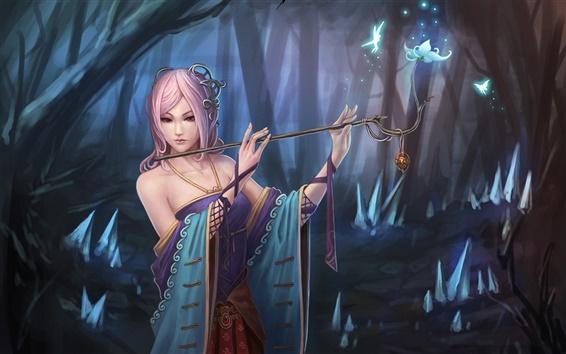 Обои Розовая фантазия девушки волосы в лесу