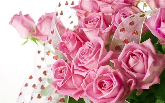 Wallpaper Pink roses bouquet with drops of water