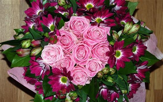 Papéis de Parede Rose e daisy bouquet