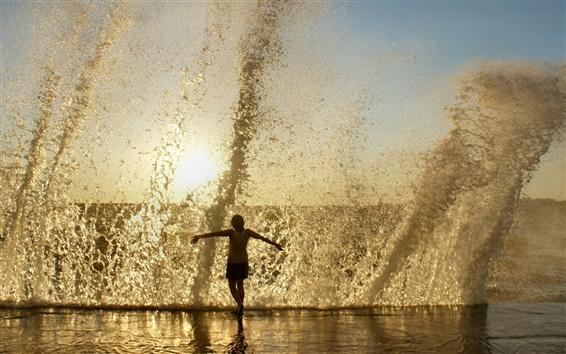 Обои Море всплеск волны песка