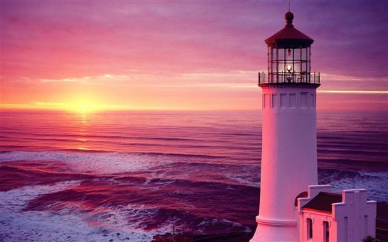 Обои Закат морской маяк