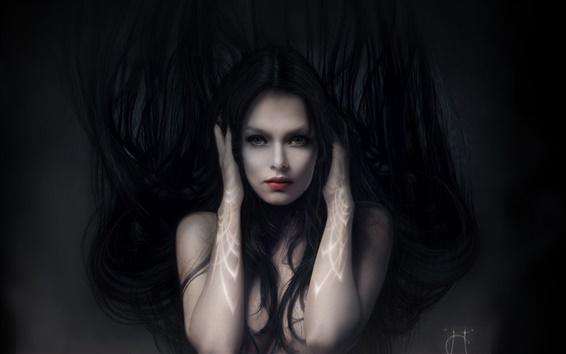 Papéis de Parede A menina fantasia no escuro
