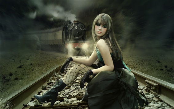 Wallpaper The fantasy girl on the train tracks