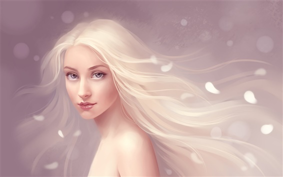 Wallpaper The flowing hair of pure fantasy girl