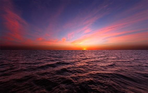 Wallpaper The horizon of the sea, beautiful sunset sky