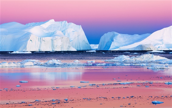 Wallpaper The icebergs beauty in the Arctic sunset