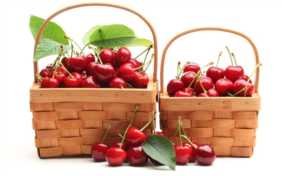 Wallpaper Two baskets of red cherries