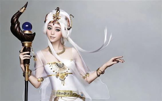 Обои Белая девушка фантазии платье