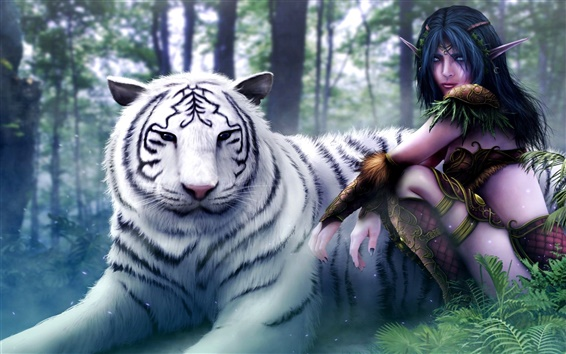 Fondos de pantalla Asistente chica con el tigre blanco