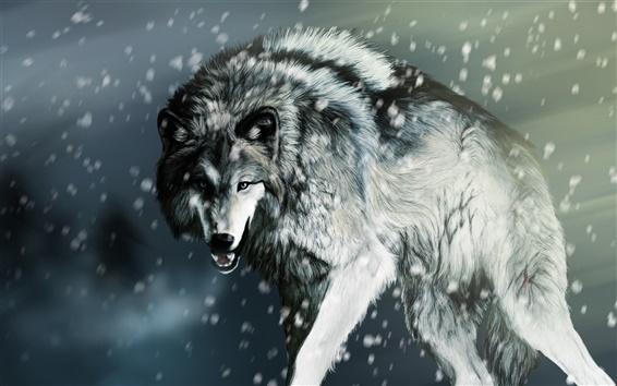 Обои Раненый волк зимой