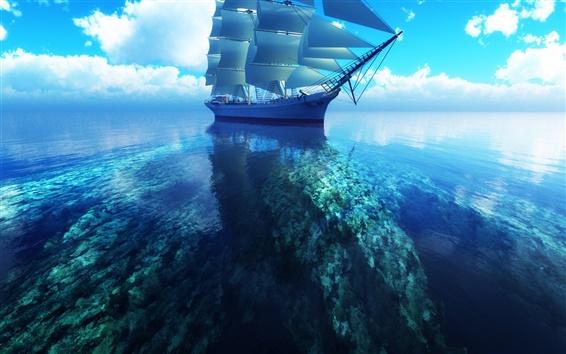 Обои 3D парусника синее море