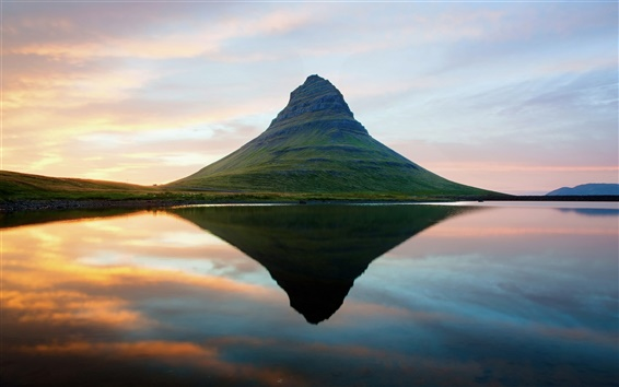 Wallpaper An extinct volcano sunset in Iceland