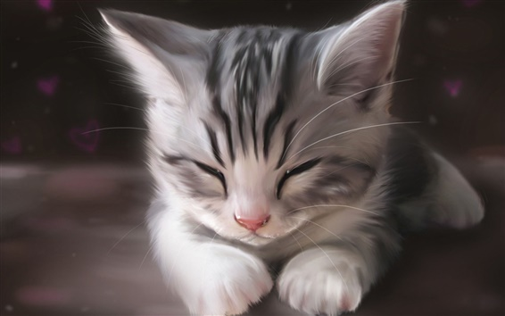 Wallpaper Art watercolor, cute cat sleeping