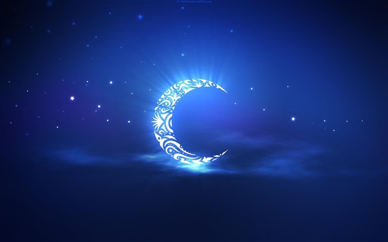 Wallpaper Artistic creation, the crescent moon in the sky