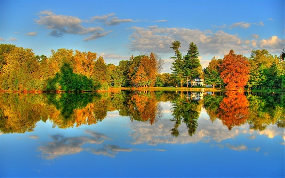 Wallpaper Autumn Lake and Maple HDR landscape