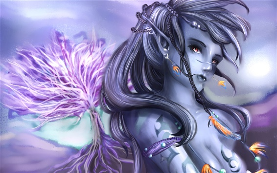 Wallpaper Blue-gray skin fantasy girl
