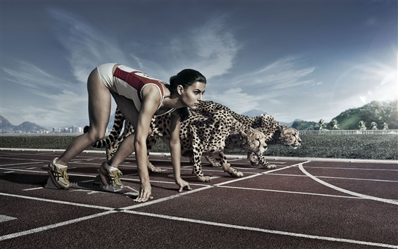 Wallpaper Creative pictures, athletes and cheetah race