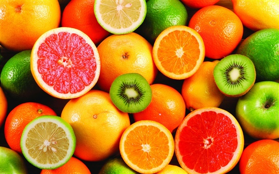 Wallpaper Delicious fruit, oranges and kiwi fruit