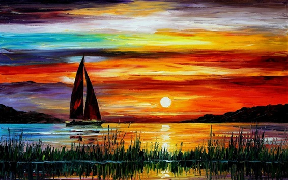 Wallpaper Exquisite painting, sunset sea boat