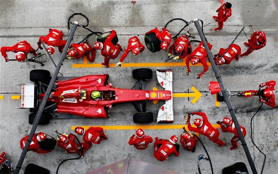 Wallpaper F1 Formula One racing, emergency tire change