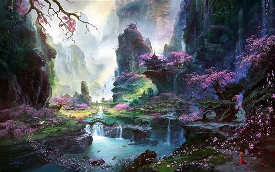 Wallpaper Fantastic world painting, Oriental spring landscapes
