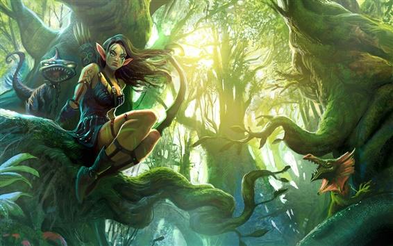 壁紙 森の中のファンタジーエルフの少女