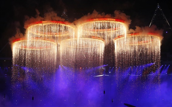 Wallpaper London Olympic Games opening ceremony, fireworks pentacyclic
