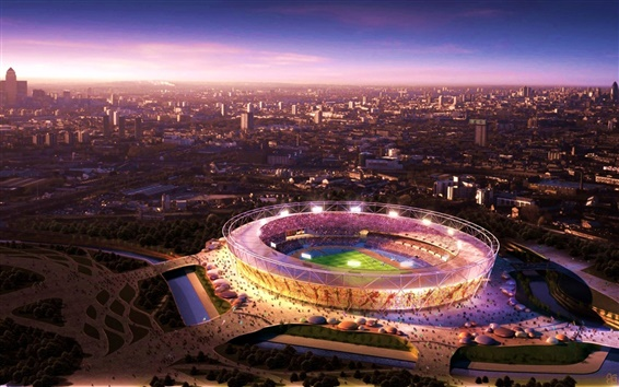 Wallpaper London Olympic venues, night view