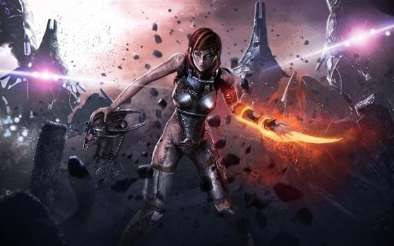 Wallpaper Mass Effect 3, Injured female soldier