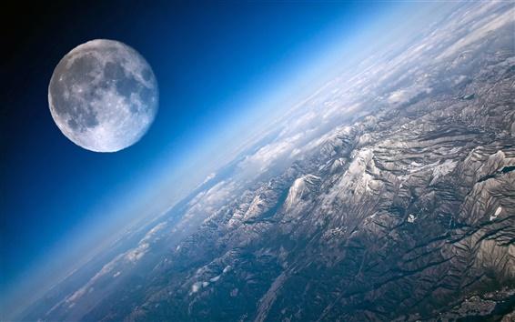 Wallpaper Moon and Earth close-up