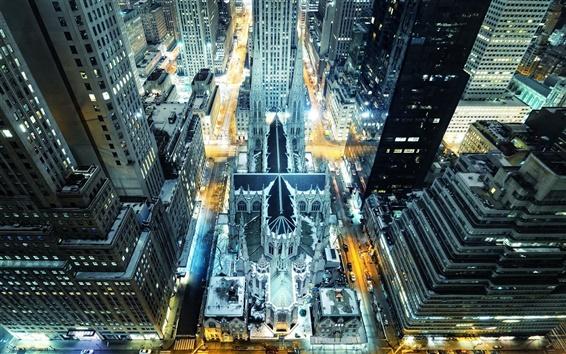 Fond d'écran Nuit de New York Manhattan Ville