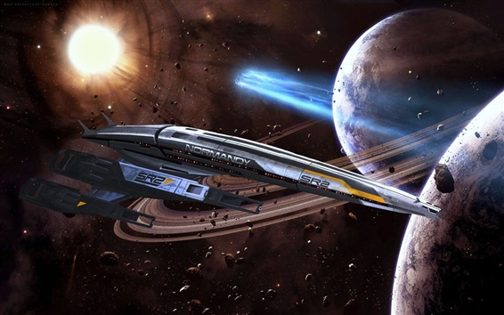 Wallpaper Normandy spaceship planet