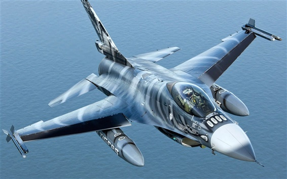 Wallpaper Over the sea fighter F-16AM