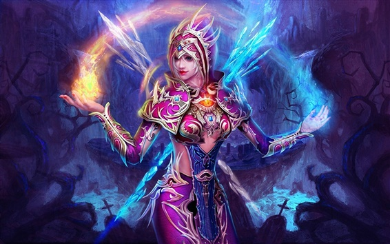 Wallpaper Purple fantasy girl, the magic of Ice and Fire