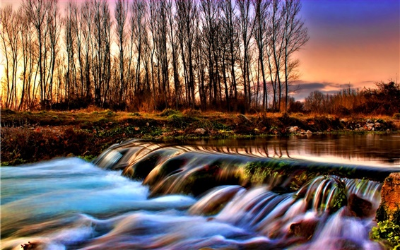 Wallpaper River and the forest of autumn dusk