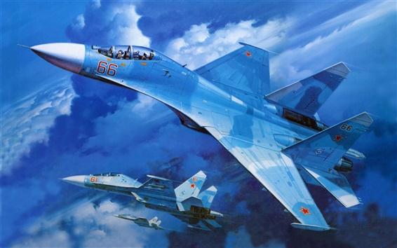 壁纸 苏-27军用飞机在蓝天