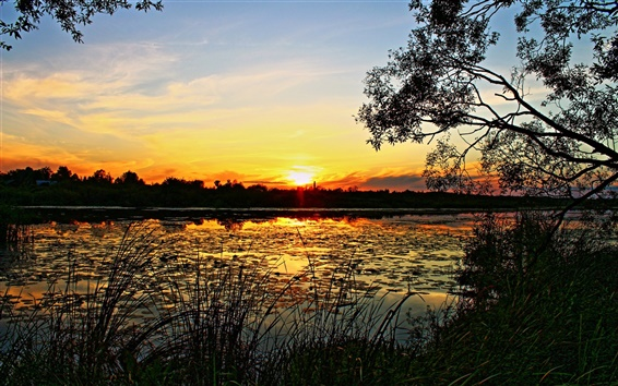 Fond d'écran Le paysage nature du lever et du coucher du soleil