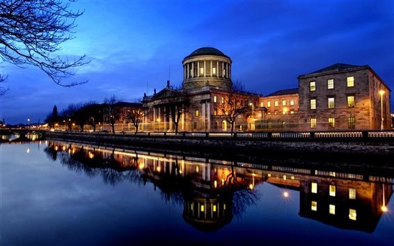 Fondos de pantalla La escena de la noche urbana ribereña Irlanda