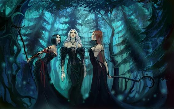Papéis de Parede Três menina fantasia saia preta na floresta