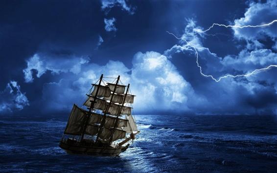 Papéis de Parede Trovões e relâmpagos à noite, navegando no mar