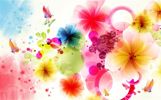 Wallpaper Vector design flowers and butterflies