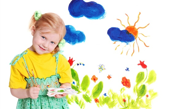 Wallpaper Watercolor painting of the blond little girl